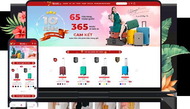 Mẫu thiết kế website thời trang, vali